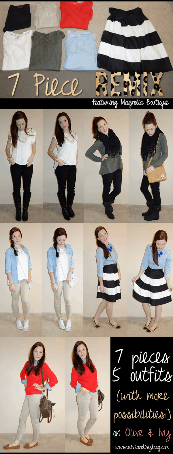 FIVE outfits from only SEVEN pieces of clothing!