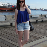 crop top and highwaisted shorts
