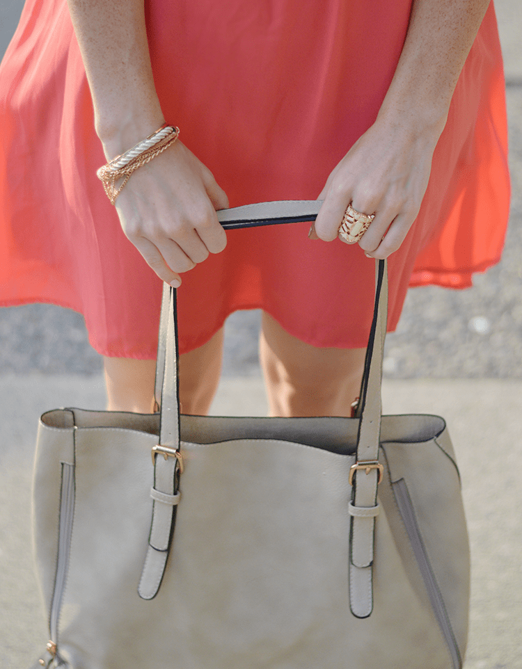 Neutral colored accessories with a bright dress #fashion #style