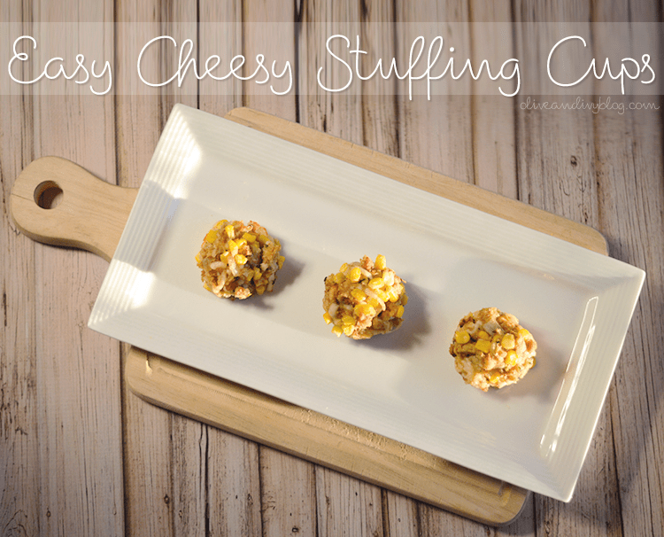 These Easy Cheesy Stuffing Cups are SO delicious and so easy to make. Using Stove Top stuffing, corn, shredded cheese and onions, they will be sure to satisy all savory lovers! #recipe #TasteTheSeason #ad