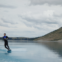 Wakeboarding on Lake Tekapo