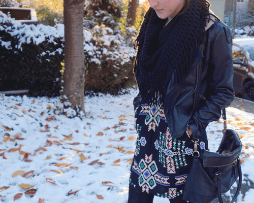 Pair your favorite dress with tights or leggings and you're good to go for winter!