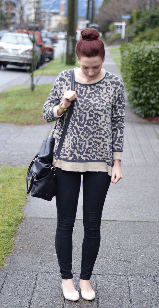 Leopard print sweater + top knot #fashion #style