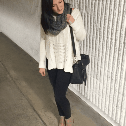 LOVE the sweater dressed up with a pair of heeled booties!