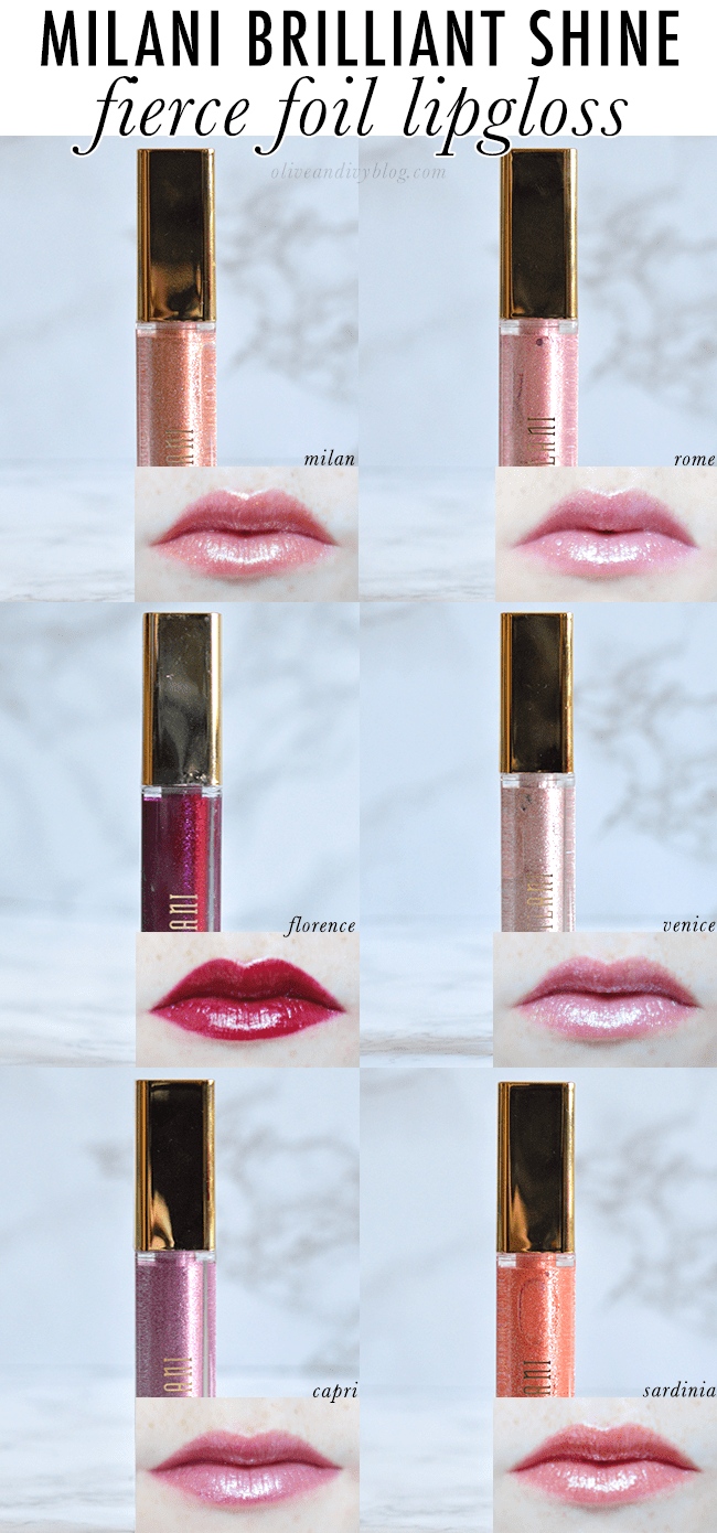 Milani Brilliant Shine Fierce Foil Lipgloss swatches and review