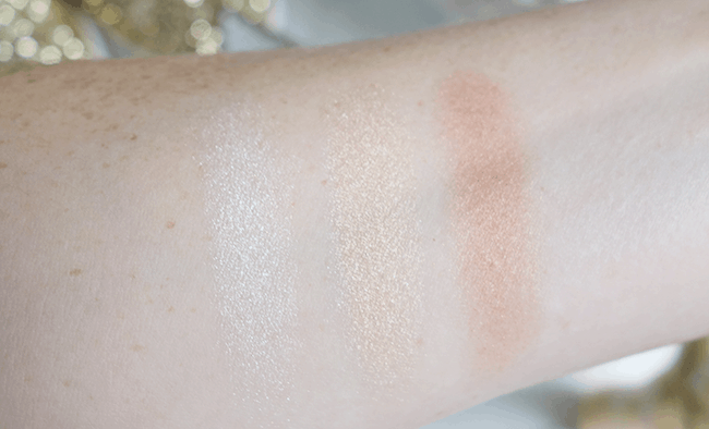 Swatches of the BECCA Champagne Glow Palette | oliveandivyblog.com