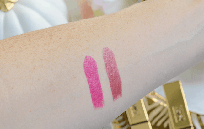 Swatches of the YSL Rouge Pur Couture Lipsticks in Fuchsia and Rose Stiletto   #YSLRougePurCouture   oliveandivyblog.com