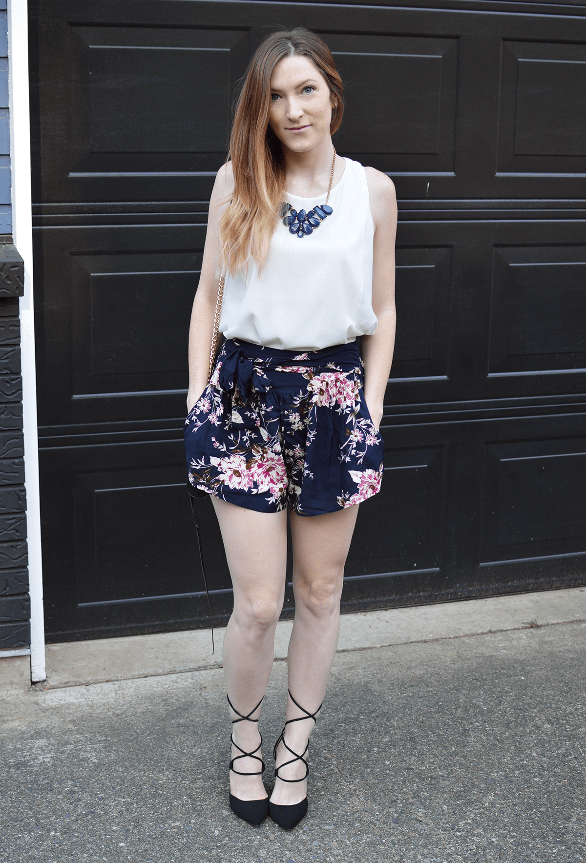 Shorts and heels are one of my favorite comfy + chic combos! | oliveandivyblog.com