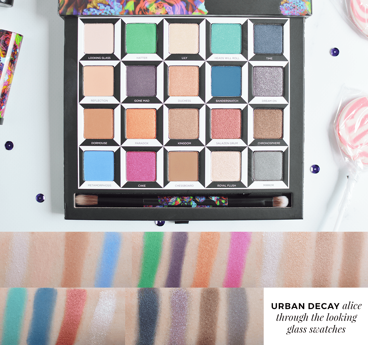 Urban Decay Alice Through The Looking Glass eyeshadow palette swatches | oliveandivyblog.com