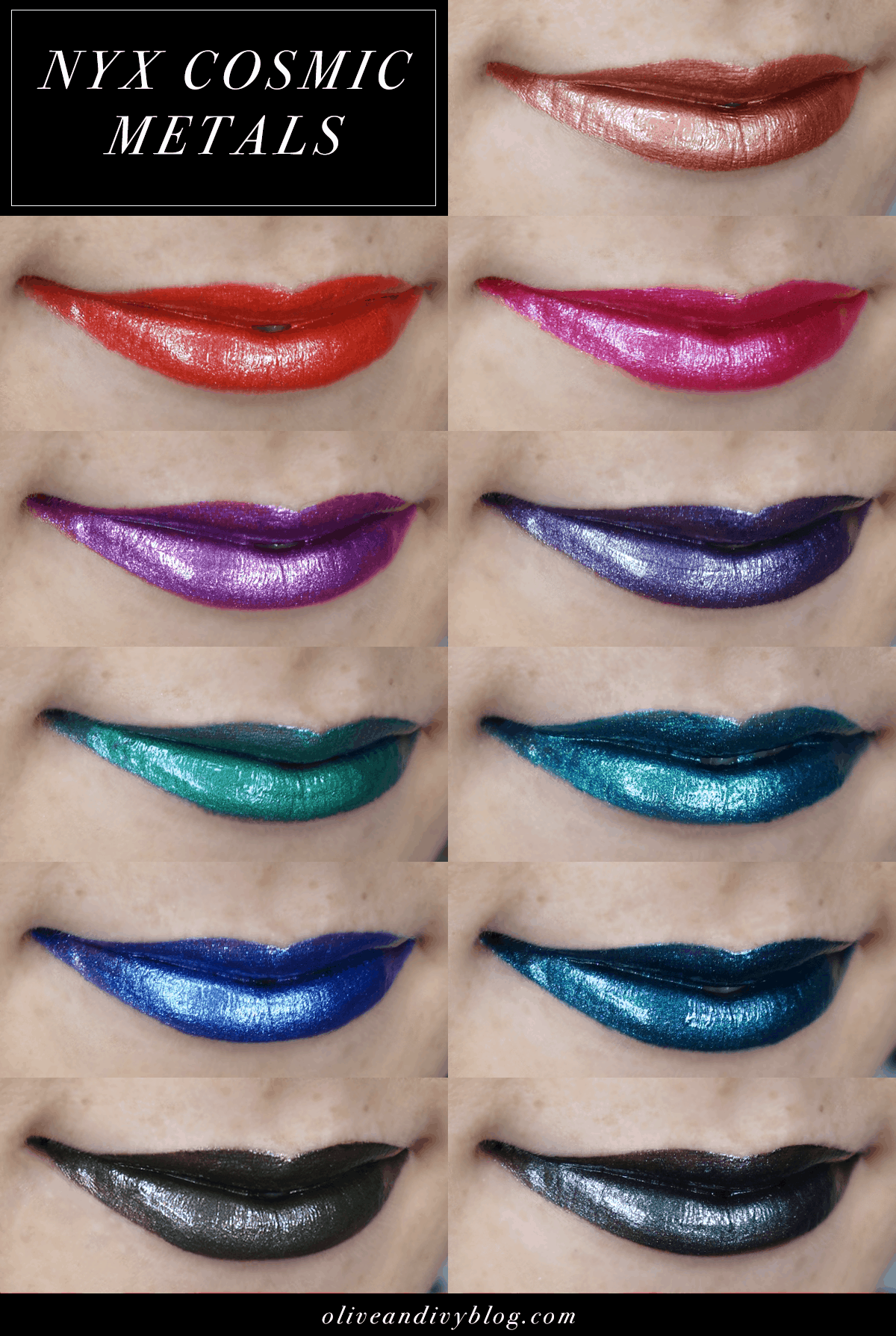 NYX Cosmic Metal Lip Cream swatches (one just may be a KyMajesty Kylie Lip Kit Dupe!)   oliveandivyblog.com
