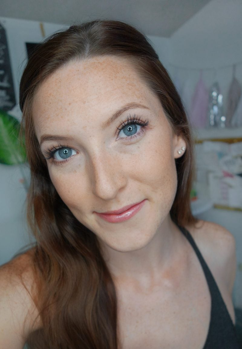 Natural glowy makeup look using clean beauty products