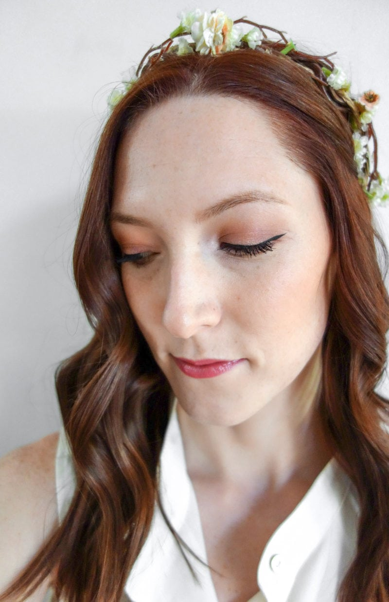 Natural bridal makeup look using clean beauty