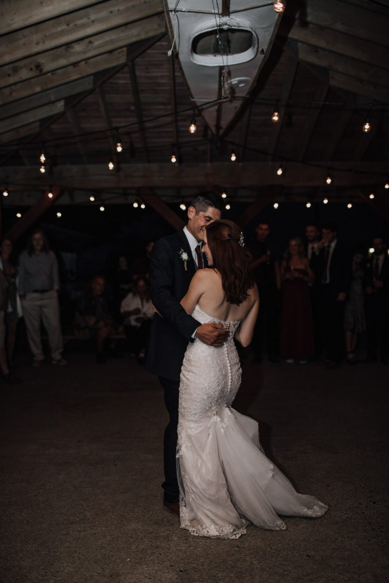 Bride and groom having their first dance
